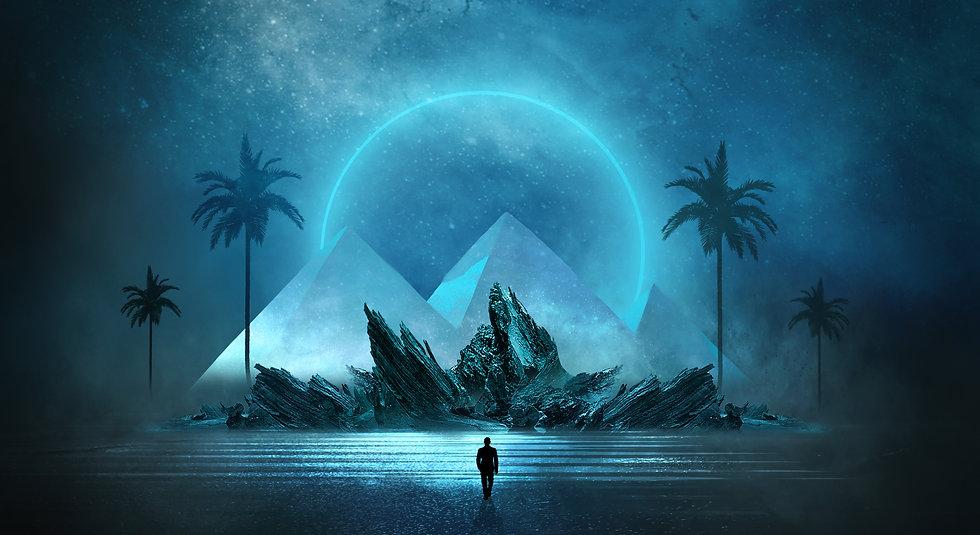 Futuristic night landscape with abstract landscape and island, moonlight, shine. Dark natu