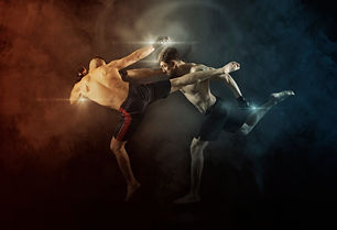 MMA boxers fighters fight in fights without rules.  Smoke background.jpg