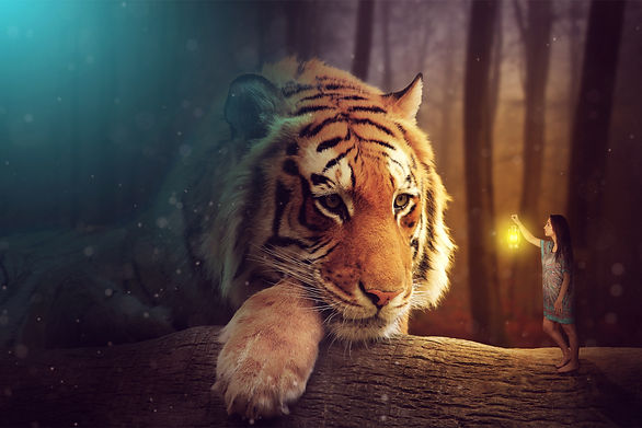 A fantasy world - a woman and a giant tiger.jpg