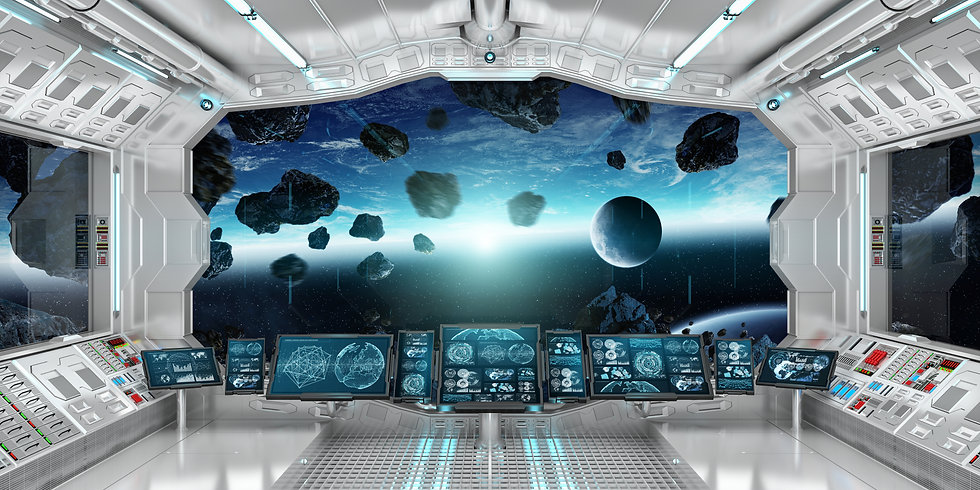 Spaceship interior with view on space an