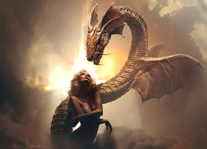 Blonde girl and dragon in fantasy world
