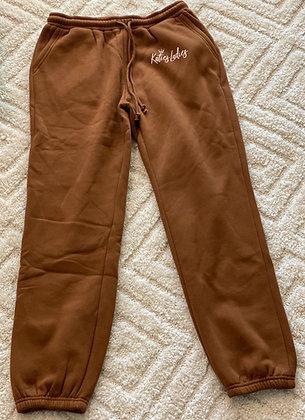 High Waisted Sweatpants-Brown