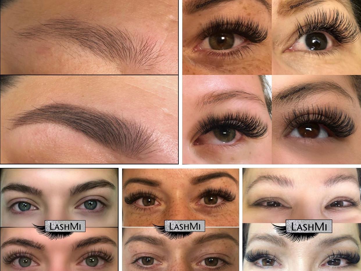 Eyebrow tinting & different volume eyelash extensions