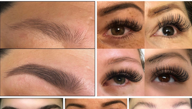 Eyebrow tinting & different volume eyelash extensions