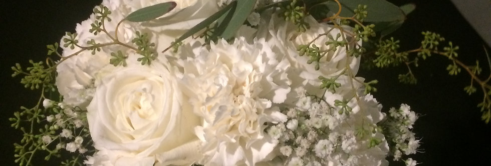 All White Hand Bouquet