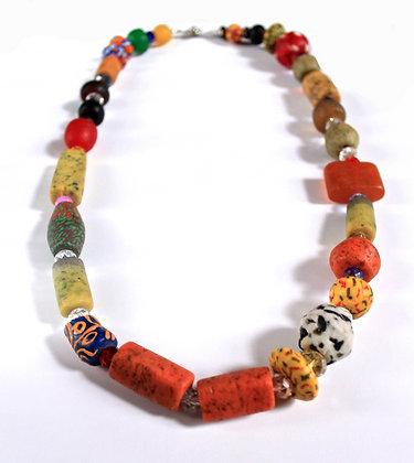 Orange Ghana Glass Bead Necklace
