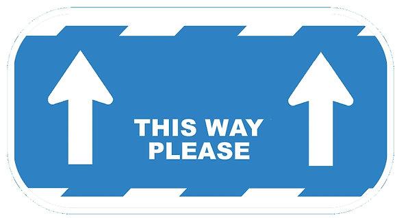 """""""This Way Please"""" Blue Vinyl Floor Sticker"""