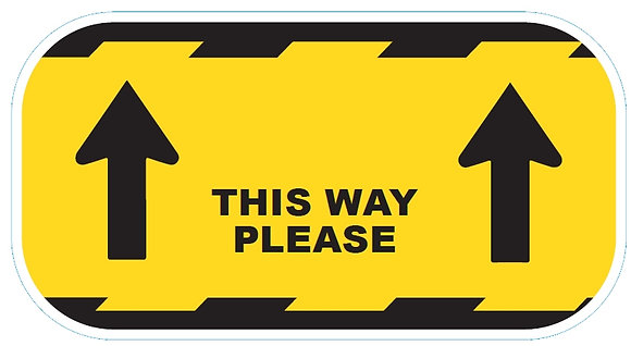 """This Way Please"" Yellow Vinyl Floor Sticker"