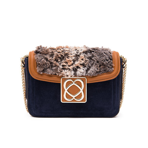 LOVE BAG Thinner Faux fur Small shoulder bag with chain