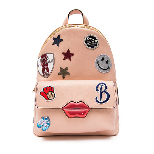 KISS Mini Backpack with shoulder straps and a top handle with patchesC