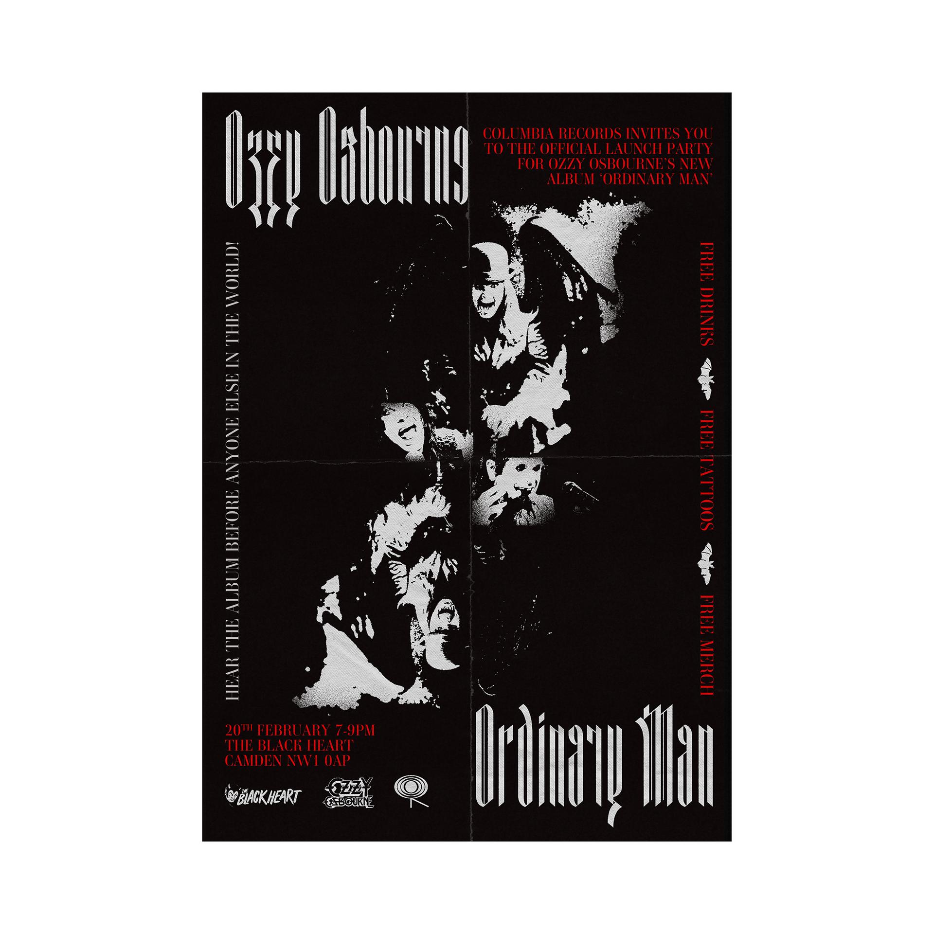 Invite for Ozzy Osbourne's album launch party