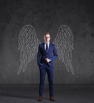Business angel on a dark background. Inv