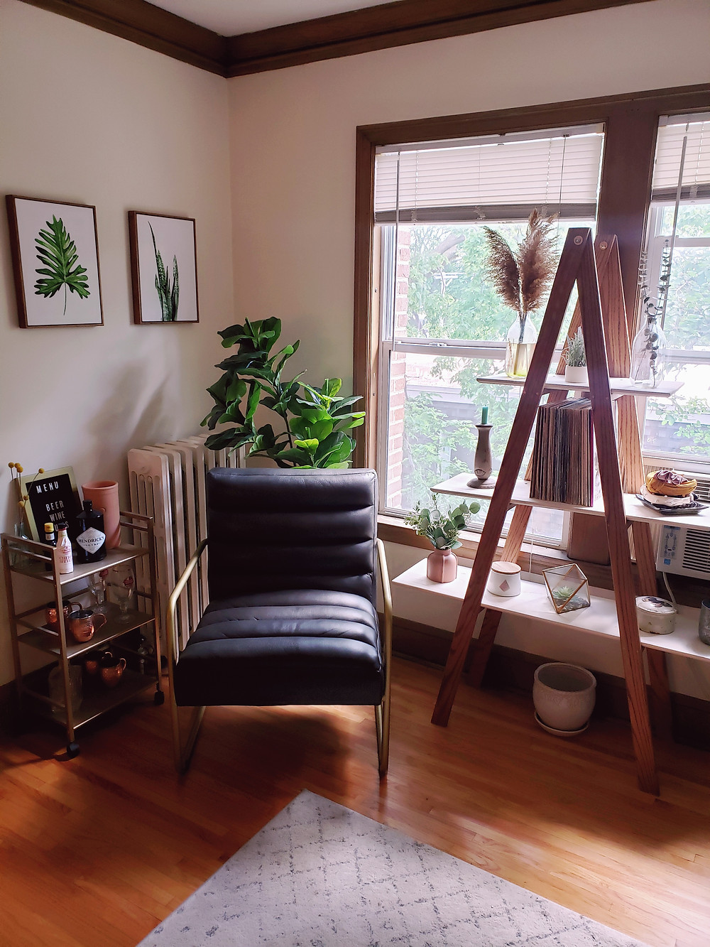 I LOVE how big the windows are in my studio. With lots of greenery right outside, I wanted to designate this corner to be an outside oasis sort of feel. Lots of natural lighting for reading:)