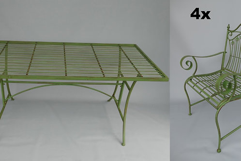 Tuintafel 2x stoel 1x bank groen