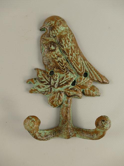 wandhaak vogel met jong.    groen  326.021GR
