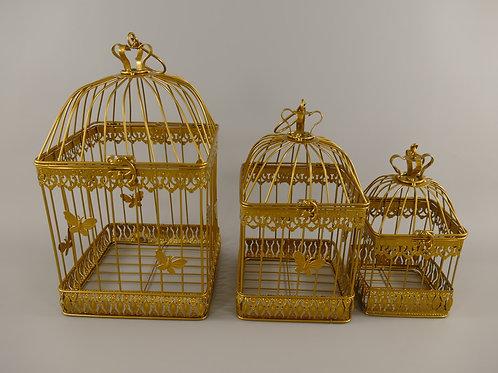 Vogelkooi Vlinder vierkant goud Groot 122.308GO