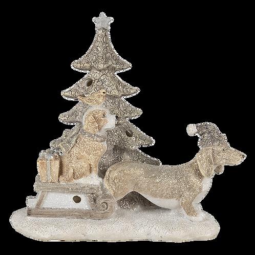 Teckel en Retriever bij Kerstboom met lampje 6pr4630
