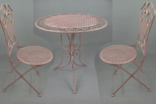 Bistroset roze 2x stoel plus tafeltje