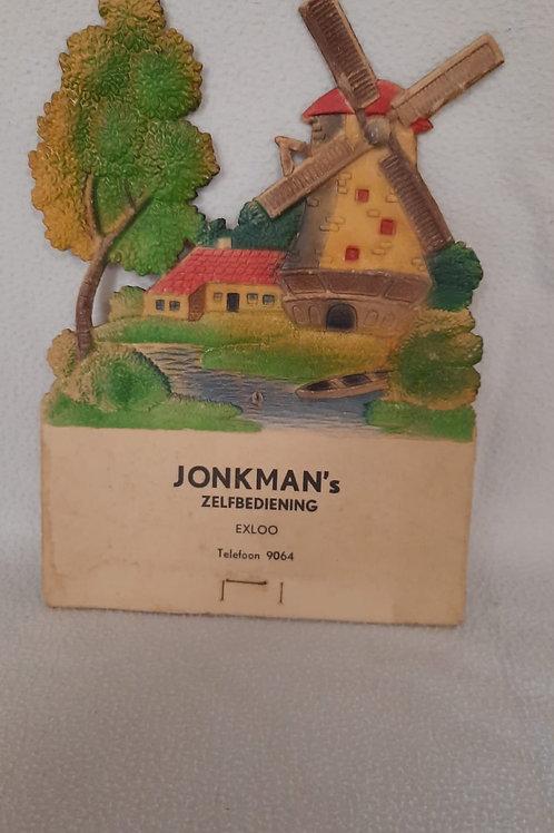 Oude kartonnen reclame Jonkman's Zelfbediening Exloo