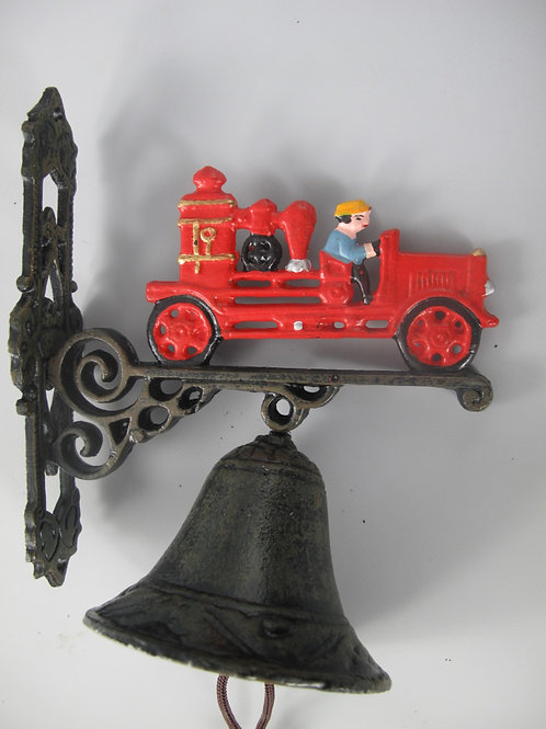 Gietijzeren bel brandweerauto klein