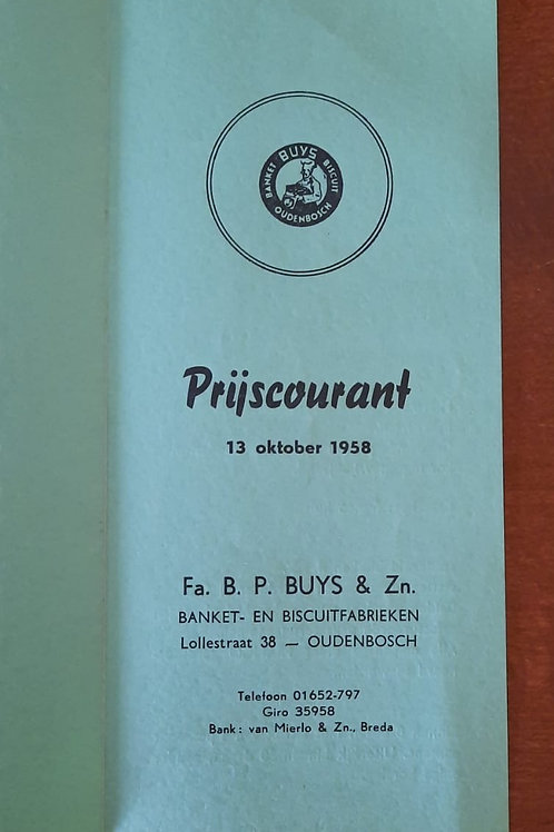 Prijscourant 1958 Fa. B.P. Buys & Zn Oudenbosch