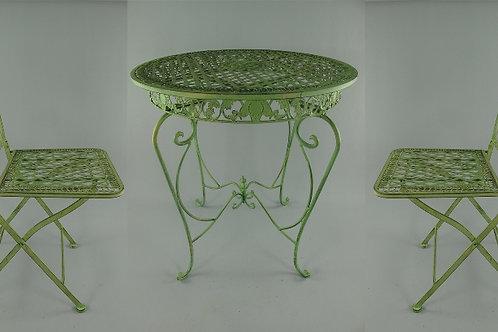 Tuinset 2x stoel & tafel (66cm) ijzer rustik. groen SET 122.300G