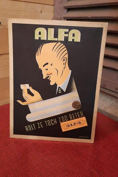 Oude reclame display Alfa vloeitjes