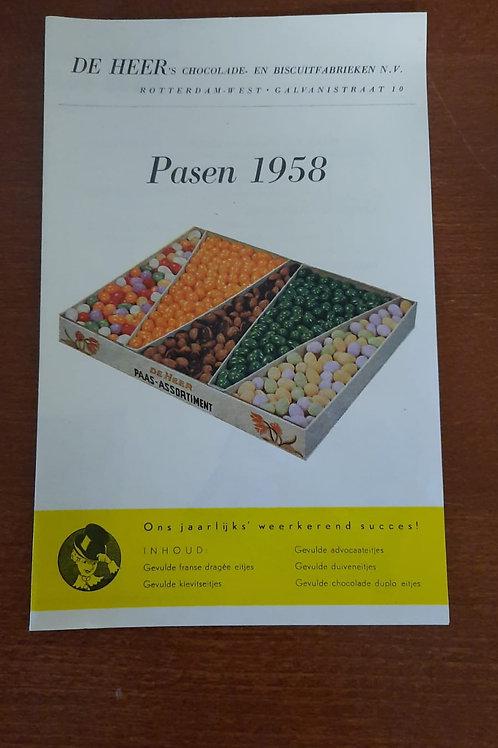 Reclamefolder De Heer chocolade Pasen 1958
