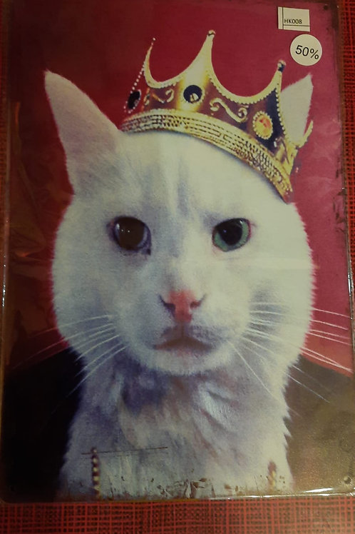 Witte kat met kroon  HK008