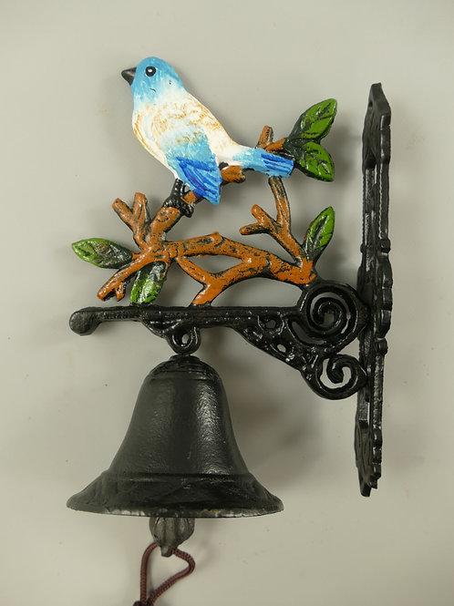 Gietijzeren bel blauw vogeltje klein