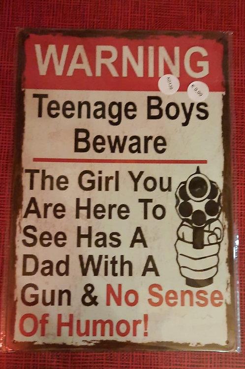 Warning Teenage Boys   K0139