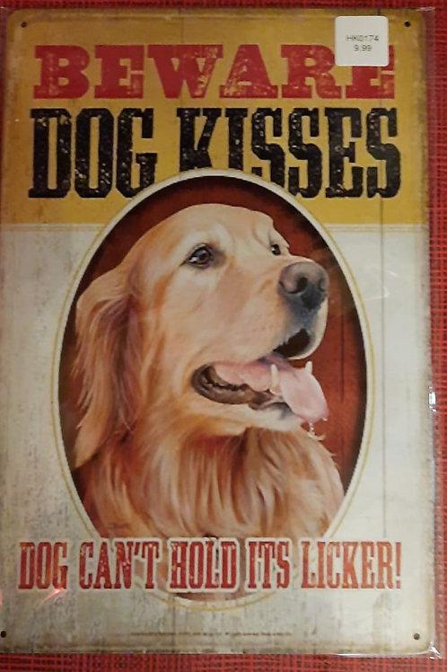 Beware Dog Kisses Golden Retriever  HL0174