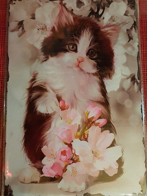 Kitten met roze bloem WW002