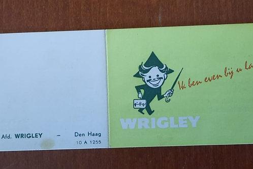 Wrigley prijskaartje foldertje