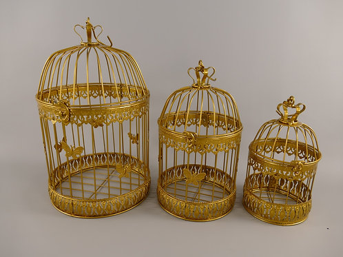 Vogelkooi  Vlinder rond goud small  122.309GO