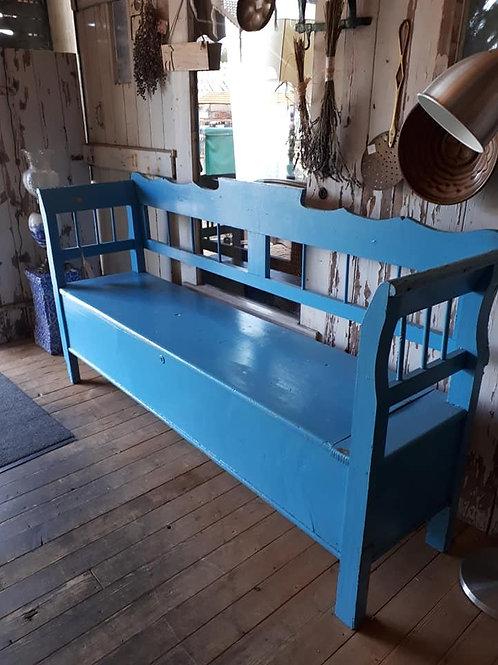 antieke klepbank blauw