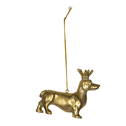 Kersthanger Teckel goudkleurig   6PR2926