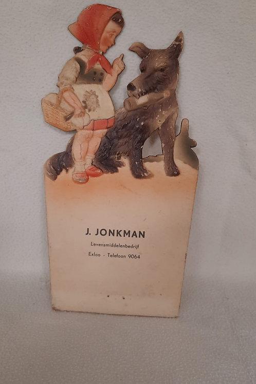 Oude kartonnen reclame Jonkman Levensmiddelenbedrijf