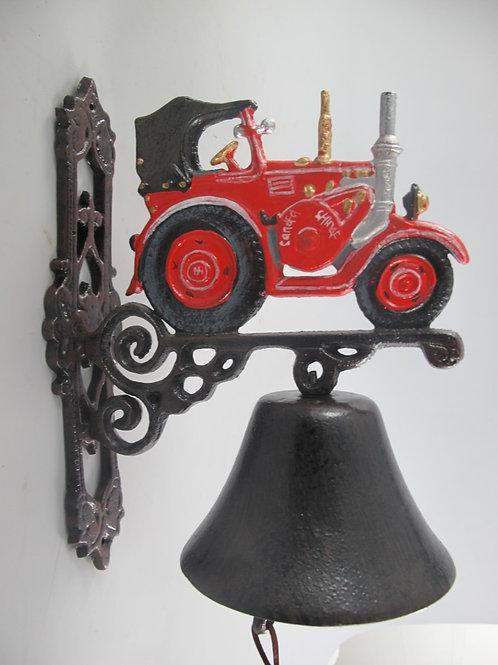 Gietijzeren bel tractor rood