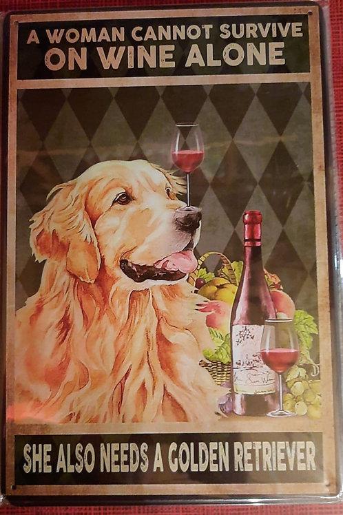 Golden Retriever met wijnglas   WW020