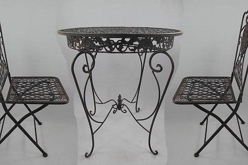 Tuinset 2x stoel & tafel (66cm) ijzer roest. bruin SET!