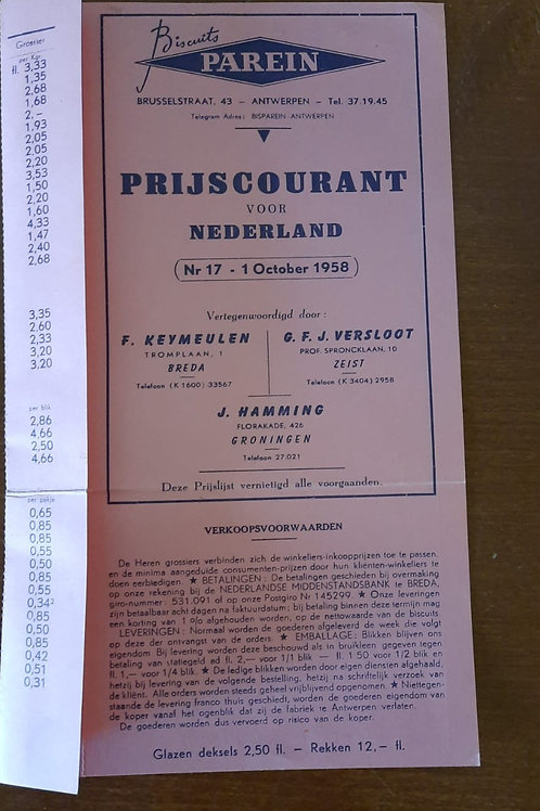 Reclamefolder Parein Biscuits 1 October 1958