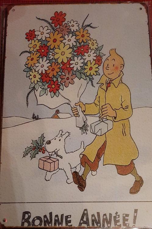 Kuifje met bloemen Bonne Annee  K0143