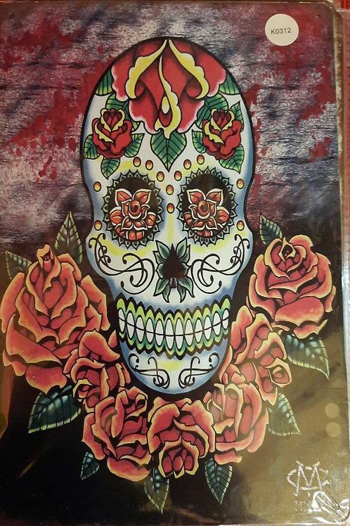 Skull met rozen K0312
