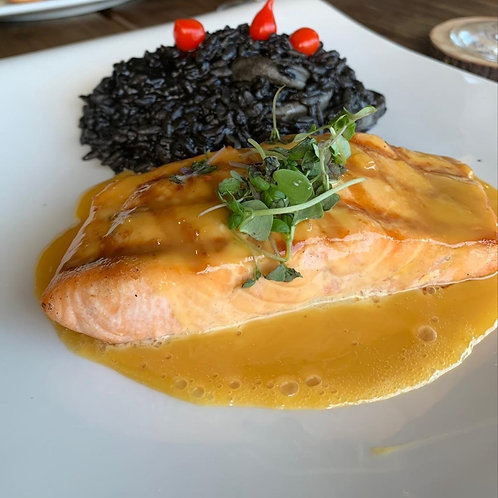 Salmon With Pasion Fruit Sauce With 2 Sides - Minimum 2 To Order