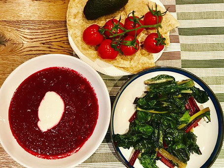 Beetroot and chickpea soup with rainbow chard recipe