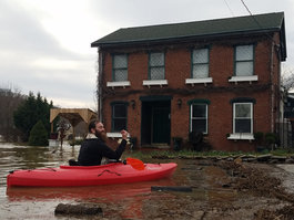 February 2018 - local kayaker on flooded Ohio River