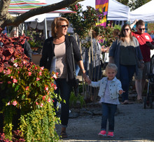 harvest shoppers - mom and little girl.j