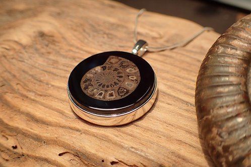 Ammonite inlay in Jet Pendant
