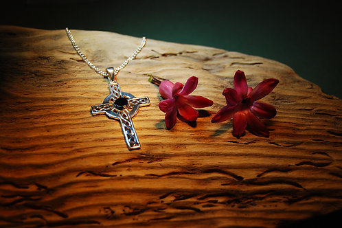Sterling Silver and Whitby Jet Celtic Cross